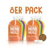 Mini Meals Quetschies 8er Pack + KOSTENLOSES REZEPTBUCH - Wiederverwendbare Quetschbeutel - BPA frei - leicht zu füllen & reinigen - geeignet für alle Kinder - ideal beim abstillen sowie für Bio-Lebensmittel, hausgemachte Babybreie, Yoghurt oder Smoothies - 1