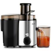 Aicok Entsafter Edelstahl Trennscheiben Juicer 2 Geschwindigkeiten Für Obst und Gemüse Mit Saftbehälter und Reinigungsbürste - 1